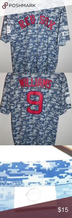 Adult L XL Williams Boston Red Sox Camo Shirt Adult L XL Ted Williams  Boston Red Sox Military WWII Camo Jersey Shirt Pawtucket 2017 - ARMED  SERVICES NIGHT 35664d876