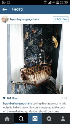 I love this wall mural and rotin cot