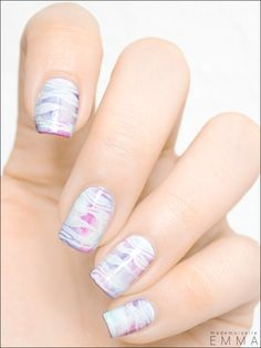 Opalescent nails with stamping
