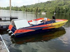 This looks like pretty fast boat and we love the paint job on this! www.wholesalemarine.com #speed boat, #lake