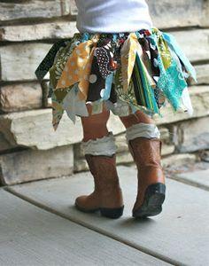 scrap tutu skirt- just double knot long scrap pieces around an elastic waistband- great for burning man!