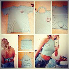 DIY t-shirt to halter crop top in just a few snips. Fun look for summer!: