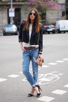 what-do-i-wear:    Sandals:Zara, Boyfriend Jeans:H,Top:The Wardrobe, Jacket:H, Belt:H, Clutch:Zara, Bracelet 1:Uterqüe,Bracelet 2:Tiffany & Co,Bracelet 3:Aristocrazy, Sunglasses:Ray Ban (image:fashionvibe)