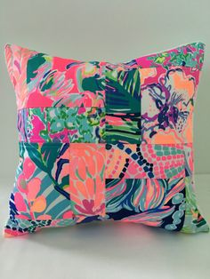 A personal favorite from my Etsy shop https://www.etsy.com/listing/469705567/lilly-pulitzer-pillow-patchwork-pillow