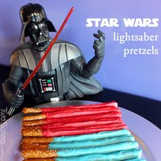 Directions for making Star Wars Lightsaber Pretzels - a perfect sweet and salty snack for a Star Wars birthday party or a Star Wars Day movie marathon.