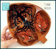 #Fall #Leaves #Handpainted Wood Trinket #Bowl OOAK by #EclecticDawnArts