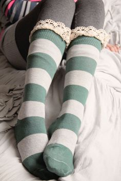 Heather Gray and Green Striped Knit Frilly Boot Socks by Murabelle, $30.00