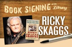 Saturday, March 22 2:00–2:45 p.m. | Solo acoustic performance with Q&A 2:45–4:30 p.m. | Book signing Grammy Award-winning recording artist Ricky Skaggs will be at the Billy Graham Library to perform a mini acoustic set and sign his new book, Kentucky Traveler, a warm, honest memoir of his 40 years as a music legend. •Purchase his book at Ruth's Attic bookstore in the Library or bring your own. •Limit of two signed books per person. •Visit BillyGrahamLibrary.org for details. Billy Graham Library, Grammy Award, Book Signing, Exciting News, 40 Years, Memoirs, Friends Family, Attic, Acoustic