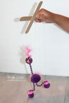 Make a super simple marionette! Fun for kids to use and the perfect size! I think this silly bird looks similar to Kevin from UP. You could do the colors to match! ...