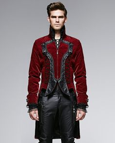 Punk Rave Dandy Mens Jacket Coat Red Goth VTG Steampunk Velvet Tailcoat Wedding in Clothes, Shoes & Accessories, Men's Clothing, Coats & Jackets Steampunk Coat, Style Steampunk, Cool Jackets For Men, Men's Coats And Jackets, Dandy, Goth Vintage, Gothic Fashion, Mens Fashion, Style Fashion