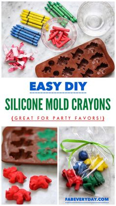 Easy DIY Fun Shape Crayons from Silicone Molds: Great for Party Favors by Fab Everyday! Easy DIY fun shape crayons from silicone molds: Great for party favors! For example, these fun cray Dinosaur Party Favors, Party Favors For Kids Birthday, Birthday Diy, First Birthday Parties, First Birthdays, Toddler Party Favors, Elmo Party, Mickey Party, Frozen Birthday