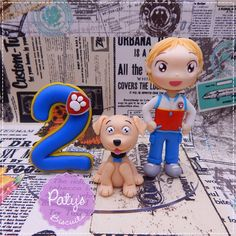 Topo de Bolo com vela Patrulha Canina - Paty's Biscuit