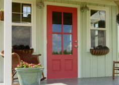 Kanga Studio: Country Cottage front porch - board and batten, excellent front door