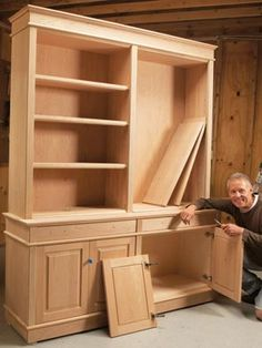 The ideal bookcase has open shelves for items you want to put on display, and enclosed storage space for stuff you don't. Building Furniture, Furniture Projects, Furniture Plans, Furniture Making, Wood Furniture, Home Projects, Furniture Makeover, Garden Furniture, Furniture Market