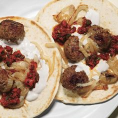 The Middle East on a flatbread:         Turkish meatballs, a tahini-spiked yogurt sauce, and muhammara, a Syrian red pepper spread.