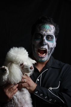Dia de Los Muertos with Gracie the poodle, Make up by Elvia Olivarria Torres, 2016