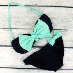 Grenada Beach Big Mint Bow Sailor Bandeau Bikini- Cute! Cute!