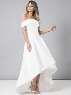 f34eb5aa564 Make a style statement in our stunning midi dress. Featuring a dip hem  skirt and a bardot neckline with fold-over sleeves. This dress will stun  with ...