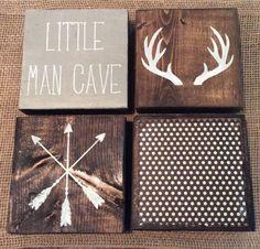 Nursery Decor | Set Of 4 - 5.5 x 5.5 in Wood Blocks| Kid Room Decor | Little Man Cave | Rustic Boys Room | Rustic Nursery