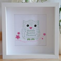 Welcome a little baby to the World with this beautiful framed #artwork. Designed in a cute owl print, this artwork can be #personalised with all the special details of a #baby's birth including name, weight and date of birth. This framed art makes a beautiful keepsake for new parents.