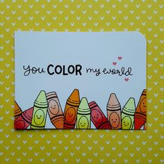 "A simple, colorful card made with the ""Color My World"" stamp set from ""Lawn Fawn""."