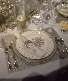 Elegant Christmas place setting.