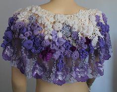 Apricot Cotton Lace Crochet Shawl Holiday por levintovich en Etsy