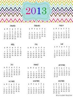 I've been looking for a calendar to pin up.  I always seem to be needing a calendar during tutoring that is easy to reference.  Thanks to A Modern Teacher!  Grab Your Colorful Chevron 2013 Calendar Freebie {one-pager}