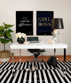 Black and white office inspiration, girl boss gold foil print and white desk…