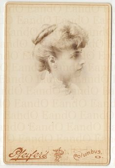 Beautiful Late Victorian Cabinet Card - Portrait of a Young Lady from Columbus, Ohio 1890s