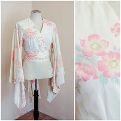 Kimono Wrap Top | Cotton Cross Front Blouse | Pink Cherry Blossom Plunge V Neckline | Japanese Kawaii Pastel Goth | Boho Anime Inspired