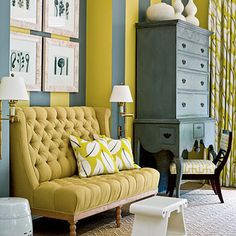 Drapery & Pillows: Konoha Leaf in Chartreuse, 2644502.  Sette Upholstery: Basic in Gold, 2626274. http://www.fschumacher.com/search/ProductDetail.aspx?sku=2626274   Chair Upholstery: Bleecker in Absinthe, 174042. http://www.fschumacher.com/search/ProductDetail.aspx?sku=174042 #Schumacher