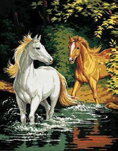 Royal Paris Tapestry/Needlepoint Kit - The Ford (Le Gué) by Atlascraft Cross Stitch Horse, Cross Stitch Charts, Cross Stitch Patterns, Color Wallpaper Iphone, Colorful Wallpaper, Needlepoint Kits, Plastic Canvas Crafts, Horse Love, Acrylic Painting Canvas