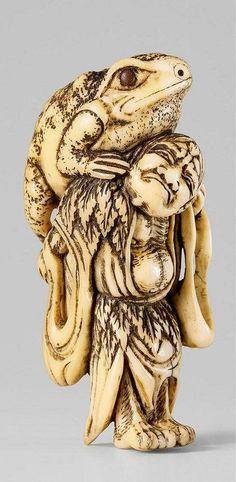 An ivory netsuke of Gama Sennin. 19th century