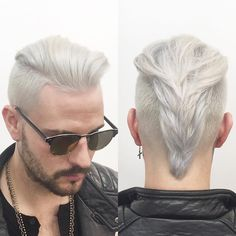 Men's color trend: platinum and blonde Enlightener, color catalyst, ash finisher with men's grooming clay