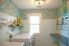 colorful laundry room makeover