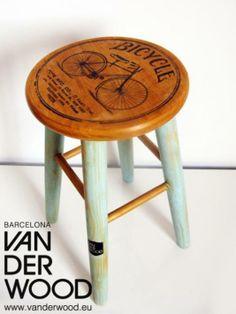 Wooden Stool - Taburete de Madera - Old School Bicycle