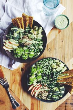 Tempeh Green Goddess Salad with Creamy Avocado Mint Dressing   Brewing Happiness