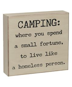 Look at this 'Camping' Box Sign on #zulily today!