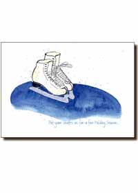 Holiday Card  White Ice Skates on a Blue Pond  Front saying - Put your skates on for a fun Holiday Season... Inside message - and glide smoothly into the New Year!  5x7 - 8 Cards and envelopes