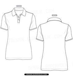 Fashion design templates, Vector illustrations and Clip-artsWomen's Polo Shirt Template - Fashion design vector body sketch form