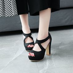 ae9ca84d2d5b Mofri Womens Stylish Peep Toe Sandals Cut Out Solid Color Ankle High  Platform Zipper Chunky High Heels Shoes Black BM US -- Continue to the  product at the ...