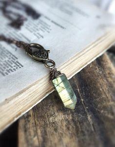 Labradorite Pillar Necklace  Gemstone Pendant  Heart by FableBay