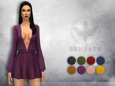 sssvitlans:  Created By Sentate Anita Dress Created for: The Sims 4A short, floaty dress with plunging neckline and a tied waist. Comes in 8 colours. http://www.thesimsresource.com/downloads/1315449