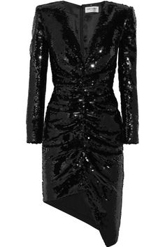 Black sequined silk-satin Concealed hook and zip fastening at back 100% silk Dry clean Made in France