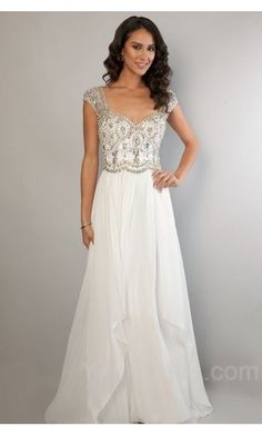 Embellished Chiffon A-Line White Sleeveless Natural Evening Dresses Cheap ykdress10840