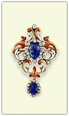 An art nouveau sapphire, enamel and diamond brooch/pendant.  The oval mixed-cut sapphire and single-cut diamond centre, within an openwork surround of scrolling enamel detail and a similarly set articulated sapphire drop, circa 1900.