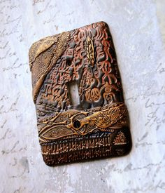 Runes & Glyph switch plate cover polymer clay by TMBakerDesigns