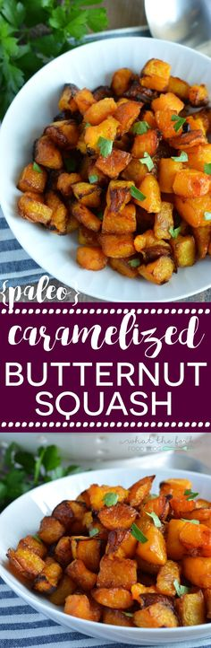 This Caramelized Butternut Squash is a healthy side dish your family is sure to love! It's slightly sweet with a crispy, sticky exterior that goes well with almost any meat. The recipe can easily be doubled or tripled to feed a crowd. Paleo Side Dishes, Side Dish Recipes, Thanksgiving Recipes, Fall Recipes, Thanksgiving Celebration, Thanksgiving Sides, Thanksgiving Decorations, Turkey Recipes, Yummy Recipes