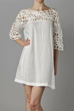 Woven Top Tunic Dress in Ivory Simple Dress Casual, Simple Dresses, Casual Dresses, Fashion Dresses, Summer Dresses, Casual Belt, Nice Dresses, Crochet Fabric, Crochet Blouse